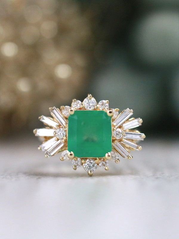 Emerald Ring   3CT Emerald   Baguette Diamond   Solid 14k Gold Cocktail Ring  Natural Emerald