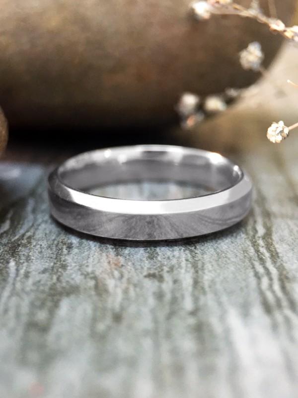 3MM Bevelled Polished Wedding Band Solid 14K White Gold (14KW) Modern Women's Engagement Ring