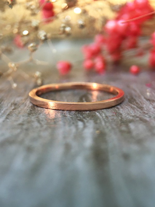 1.3MM Wedding Band Solid 14K Rose Gold (14KR) Thin Minimalist Stackable Women's Engagement Ring