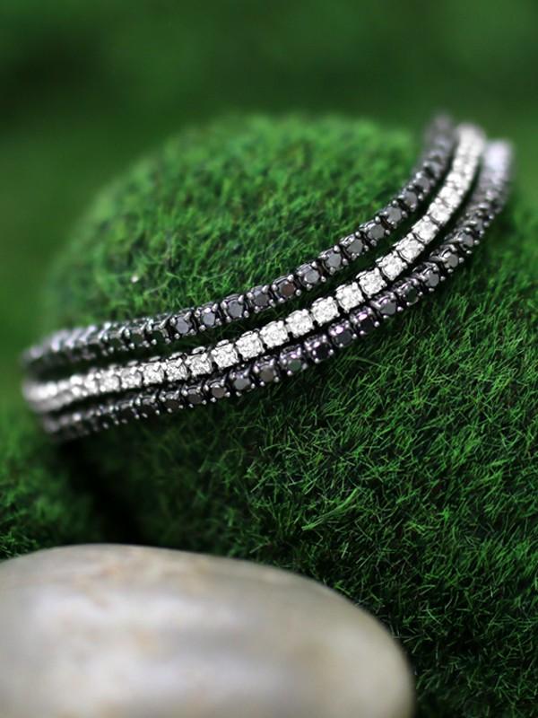 Black and White Diamond Three Strand <Prong> Solid 14K White Gold (14KW) with Black Rhodium Tennis Bracelet