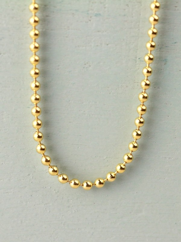 Solid Gold Ball Chain Necklace