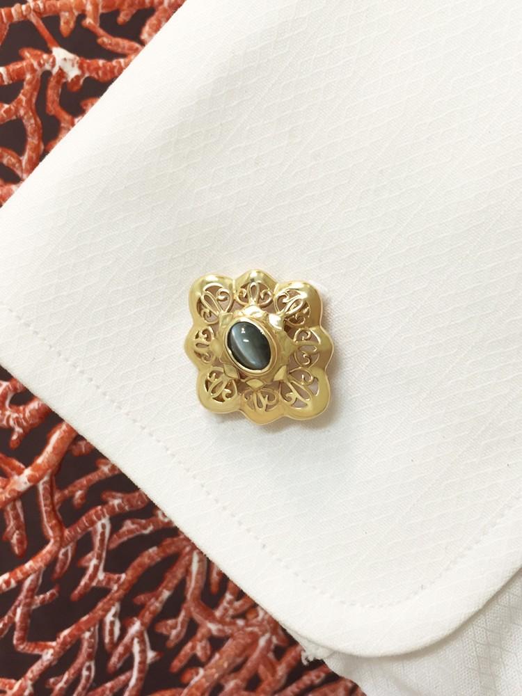 Cat's Eye Chrysoberyl <Bezel> Solid 14K Yellow Gold (14KY) Colored Stone Men's Cufflink