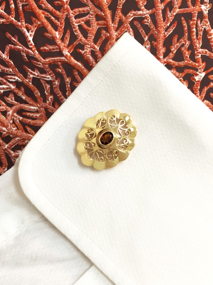 Cognac-Orange Tourmaline <Bezel> Solid 14K Yellow Gold (14KY) Colored Stone Men's Cufflink