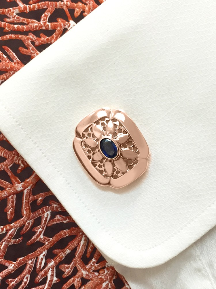 Blue Sapphire Shield <Bezel> Solid 14K Rose Gold (14KR) Colored Stone Men's Cufflink