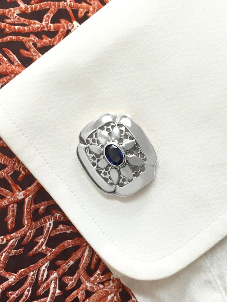 Blue Sapphire Shield <Bezel> Solid 14K White Gold (14KW) Colored Stone Men's Cufflink