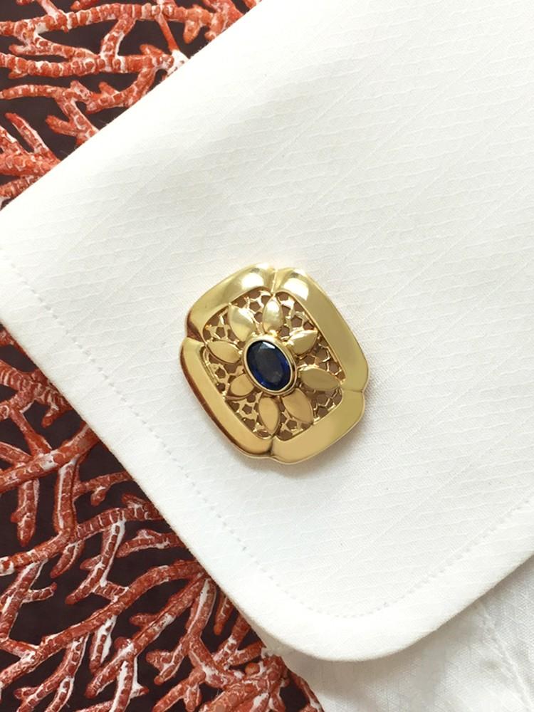 Blue Sapphire Shield <Bezel> Solid 14K Yellow Gold (14KY) Colored Stone Men's Cufflink
