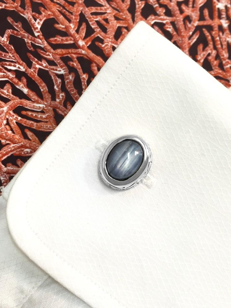 Star Sapphire <Bezel> Solid 14K White Gold (14KW) Colored Stone Men's Cufflink