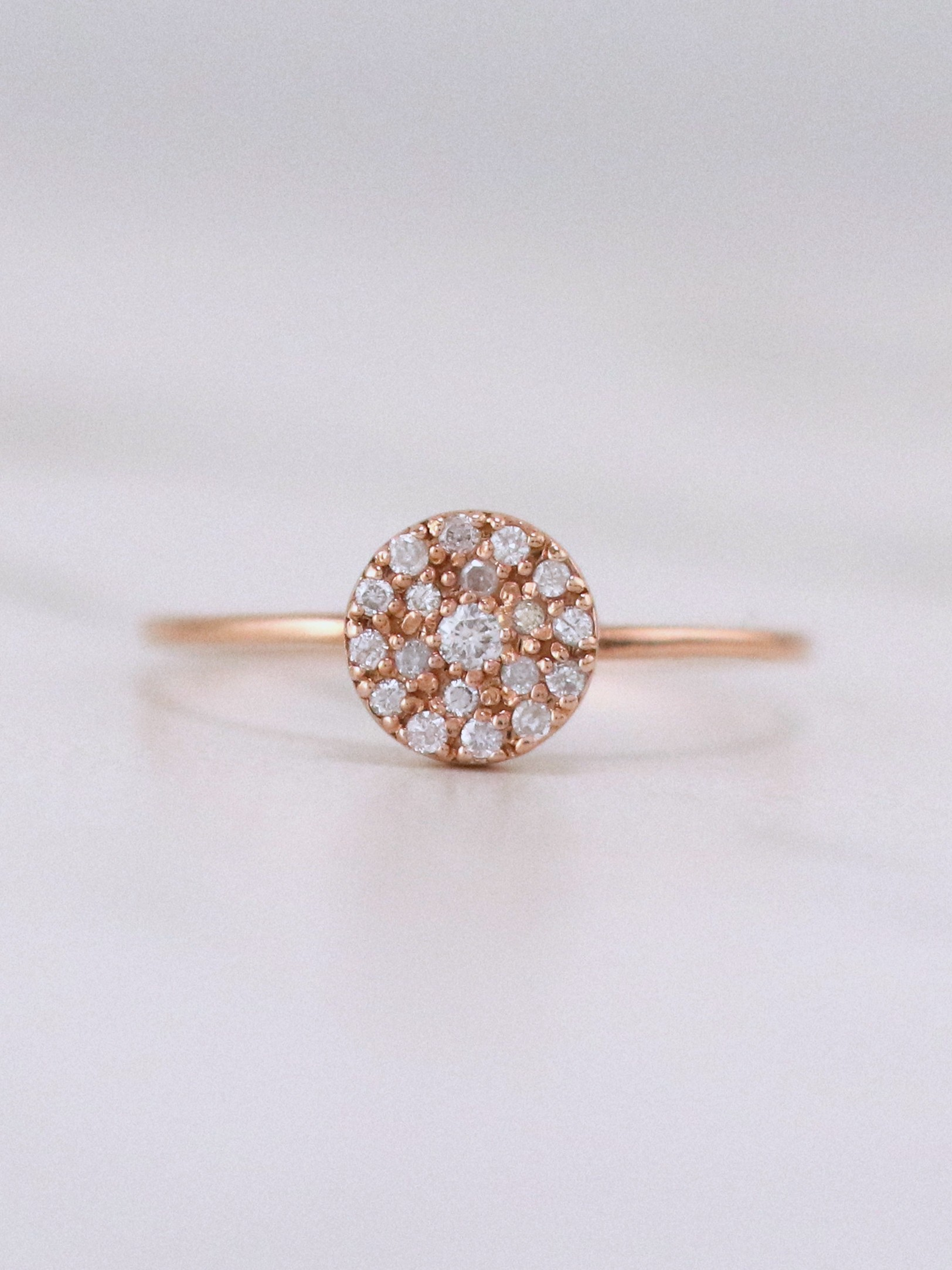 Diamond Cocktail Solid 14k Rg Affordable Engagement Ring
