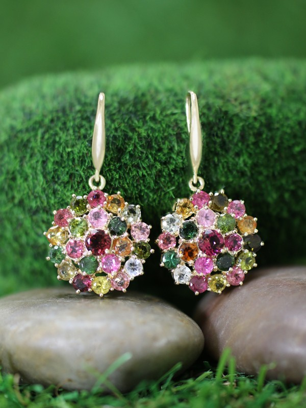 Multicolor Tourmaline Cluster Dangle <Prong> Solid 14K Yellow Gold (14KY) Colored Stone Earrings