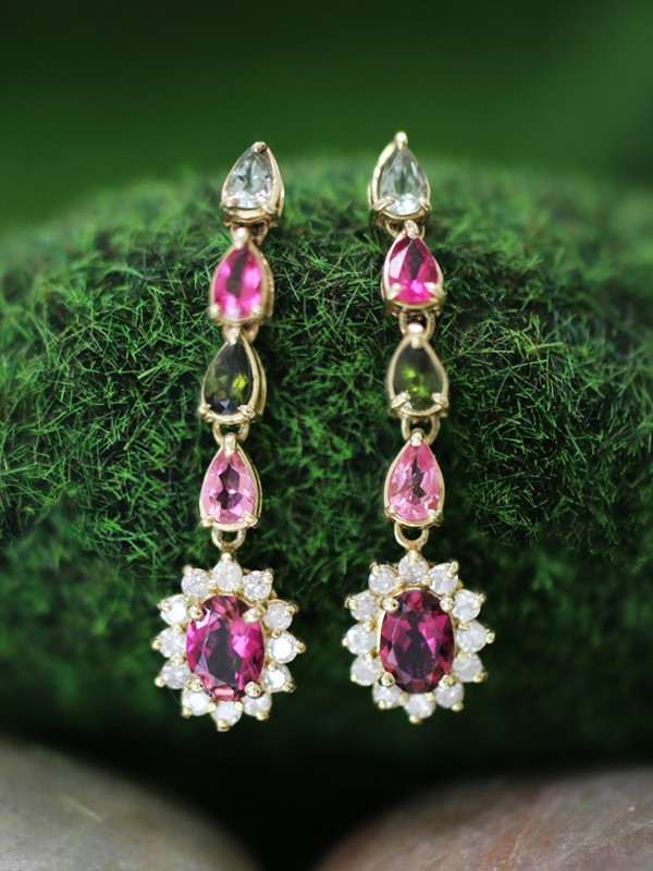 Multicolor Tourmaline and Diamond Halo Dangle <Prong> Solid 14K Yellow Gold (14KY) Colored Stone Earrings