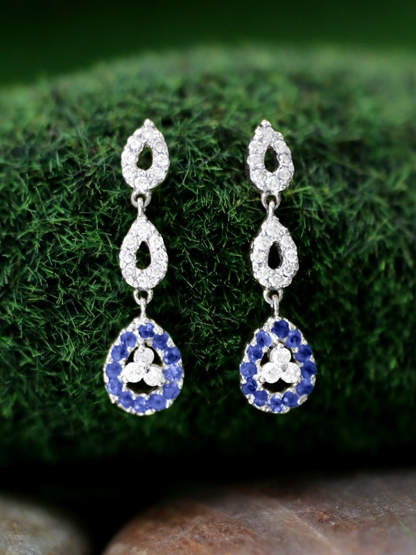 Blue Sapphire and Diamond Halo Dangle <Prong> Solid 14K White Gold (14KW) Colored Stone Earrings
