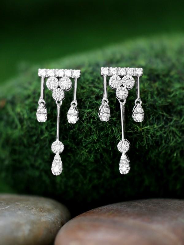 Diamond Chandelier Dangle <Prong> Solid 14K White Gold (14KW) Earrings