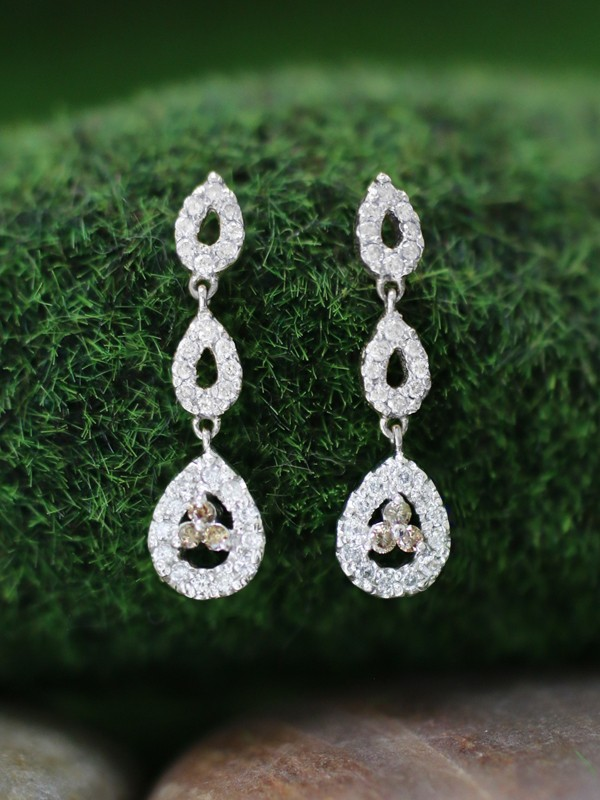 Champagne and White Diamond Halo Dangle <Prong> Solid 14K White Gold (14KW) Chandelier Earrings