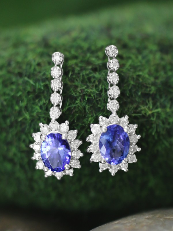 Tanzanite and Diamond Halo Dangle <Prong> Solid 14K White Gold (14KW) Colored Stone Earrings