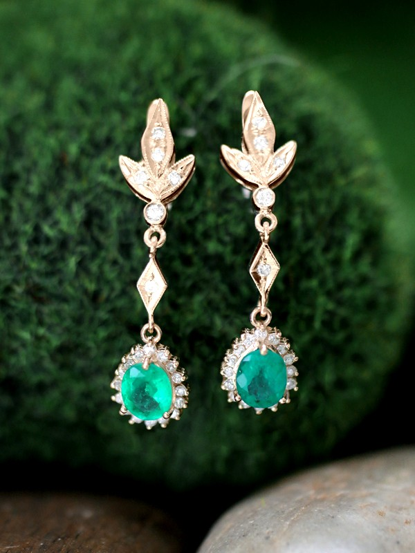 Emerald and Diamond Halo Dangle <Prong> Solid 14K Yellow Gold (14KY) Colored Stone Leaf Earrings