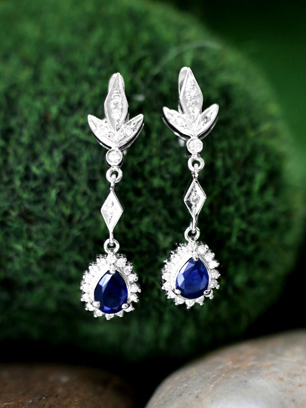 Blue Sapphire and Diamond Halo Dangle <Prong> Solid 14K White Gold (14KW) Colored Stone Leaf Earrings