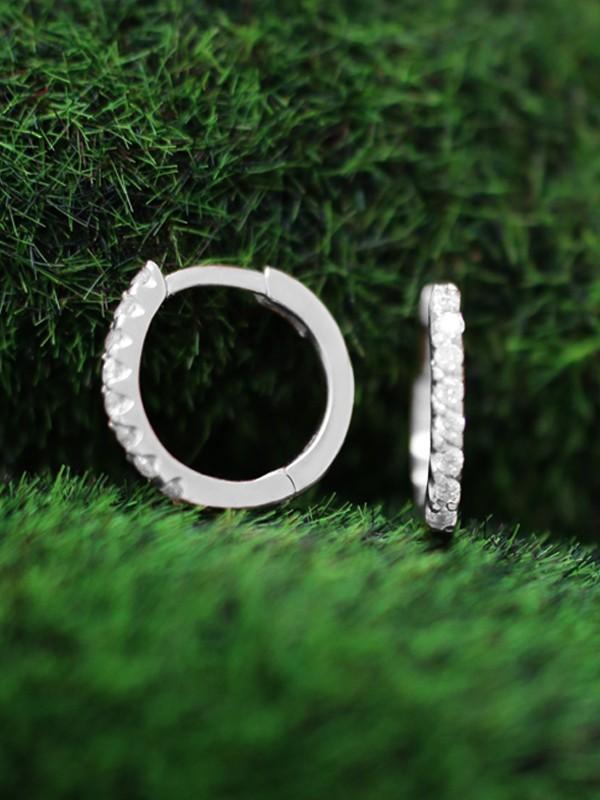 12.5MM Diamond Hoop <Prong> Solid 14K White Gold (14KW) Minimalist Huggie Earrings
