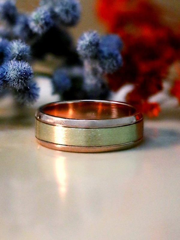 Two-Tone Men's Wedding Band   6.2mm Band   Solid 14K Gold   Matte Gold Center with Polished Rim   Men's Ring