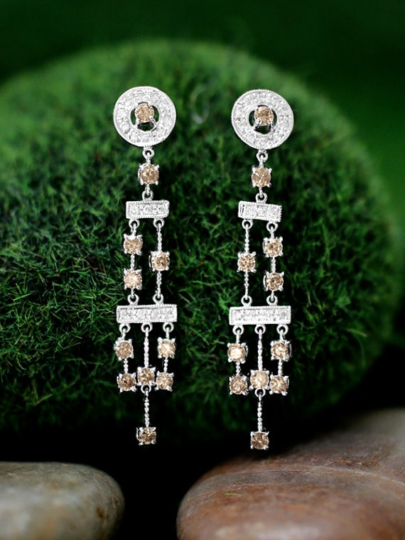 Champagne and White Diamond Chandelier Dangle <Prong> Solid 14K White Gold (14KW) Earrings
