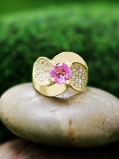 ONE-OF-A-KIND: Pink Sapphire and Diamond Cocktail <Prong/Pave> Solid 14K Yellow Gold (14KY) Colored Stone Ring