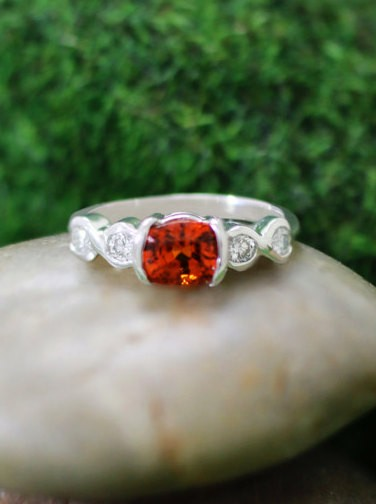 ONE-OF-A-KIND: Orange Sapphire and Diamond Engagement <Bezel> Solid 14K White Gold (14KW) Colored Stone Estate Wedding Ring