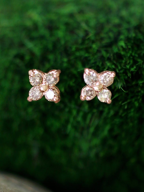7.5x7.5MM Champagne Diamond Cluster Stud <Prong> Solid 14K Rose Gold (14KR) Floral Earrings