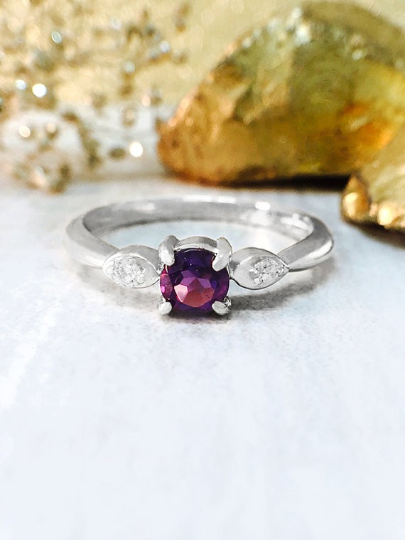 Amethyst and Diamond Ring | Gemstone Engagement Ring | 4x4MM Purple Amethyst Ring | Solid 14K White Gold | Fine Jewelry | Free Shipping