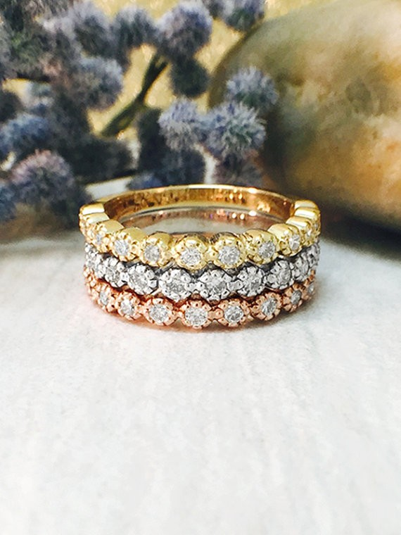 Stackable Diamond Rings | Set of Three Diamond Bands | 14K White, Yellow, and Rose Gold Rings | Solid Gold | Fine Jewelry | Free Shipping