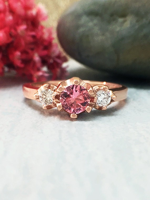 Pink Tourmaline and Diamond Ring | Gemstone Engagement Ring | 5x5MM Tourmaline Ring | Solid 14K Rose Gold | Fine Jewelry | Free Shipping