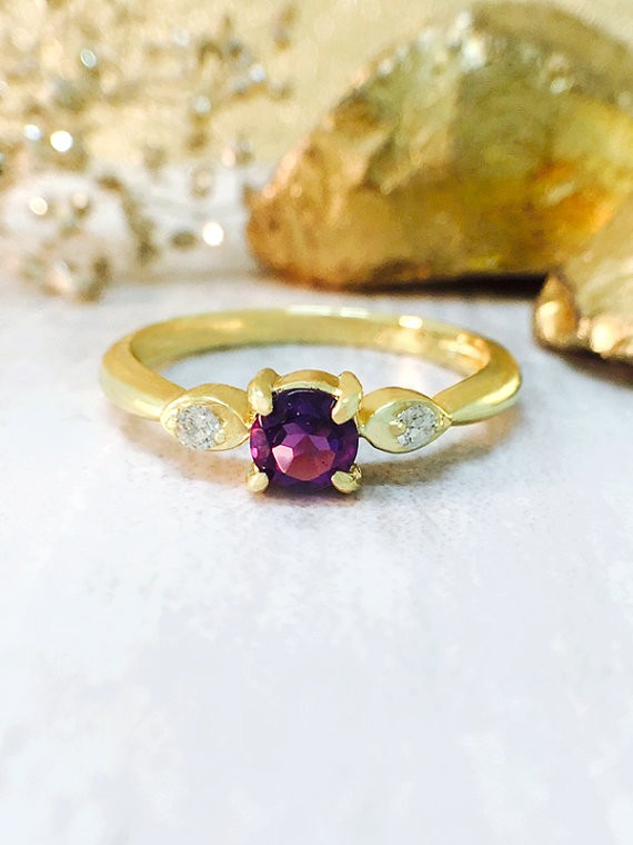 Amethyst and Diamond Ring | Gemstone Engagement Ring | 4x4MM Purple Amethyst Ring | Solid 14K Yellow Gold | Fine Jewelry | Free Shipping