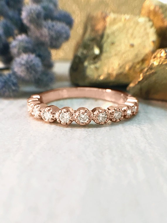 Diamond Band | Diamond Wedding Band | Engagement Ring | Stackable Ring | 14K Rose Gold Ring | Solid Gold Ring | Fine Jewelry | Free Shipping