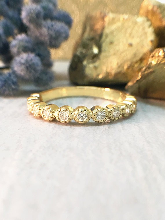Diamond Band | Diamond Wedding Band | Engagement Ring | Stackable Ring | 14K Yellow Gold Ring | Solid Gold Ring | Fine Jewelry | Free Shipping