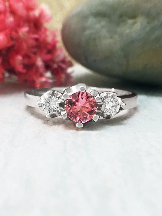 Pink Tourmaline and Diamond Ring | Gemstone Engagement Ring | 5x5MM Tourmaline Ring | Solid 14K White Gold | Fine Jewelry | Free Shipping
