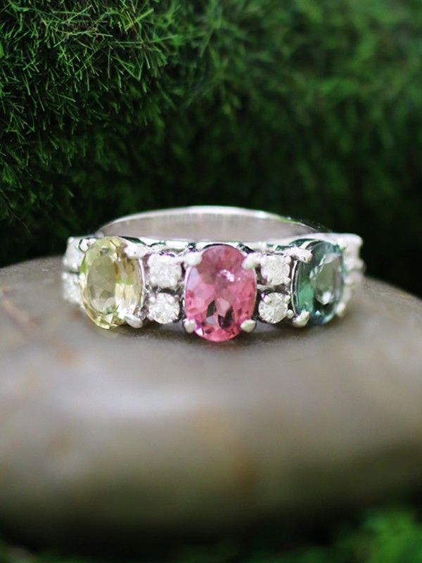 Multicolor Tourmaline and Diamond Solid 14K White Gold (14KW) Band Ring