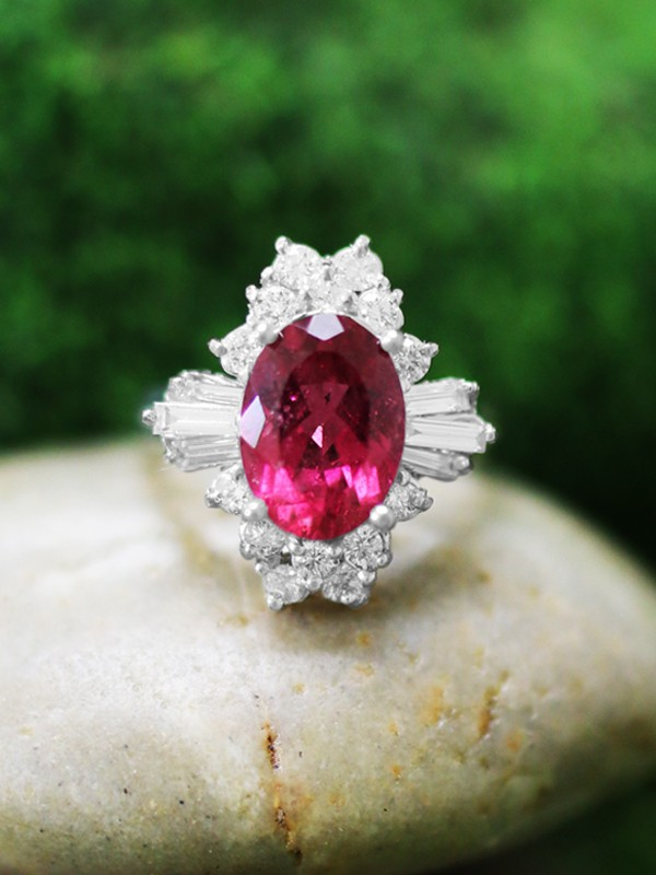 ONE-OF-A-KIND: Rubellite and Diamond Cocktail <Prong> Solid 14K White Gold (14KW) Colored Stone Estate Ring