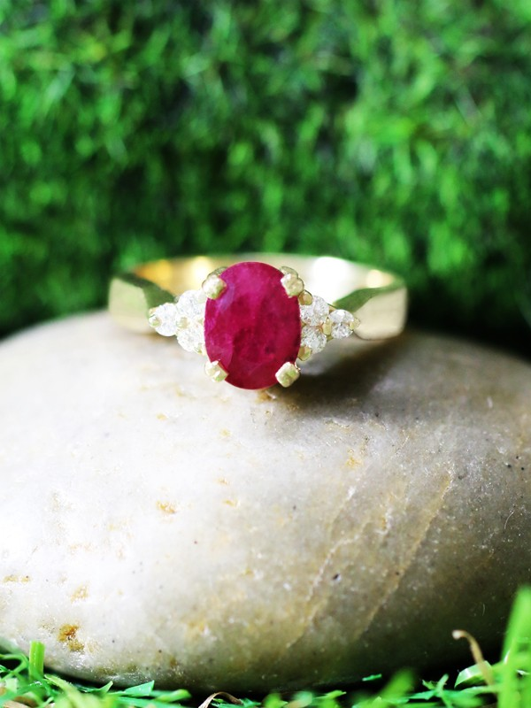 6x8MM Ruby and Diamond Engagement <Prong> Solid 14K Yellow Gold (14KY) Colored Stone Wedding Ring