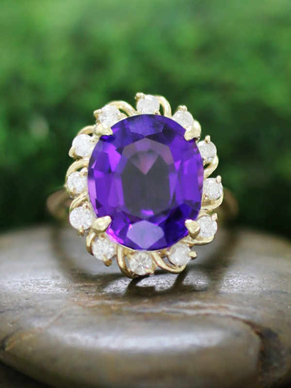 Amethyst and Diamond Solid 14K Yellow Gold (14KY) Affordable Colored Stone Engagement Ring