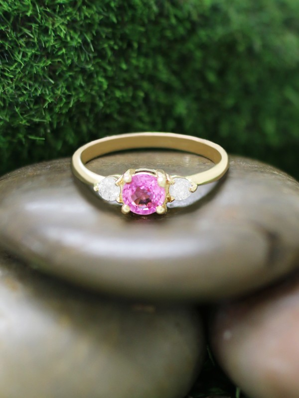 5x5MM Pink Tourmaline and Diamond Engagement <Prong> Solid 14K Yellow Gold (14KY) Colored Stone Wedding Ring