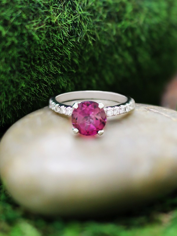 Pink Tourmaline and Diamond Solitaire Engagement <Prong> Solid 14K White Gold (14KW) Wedding Ring
