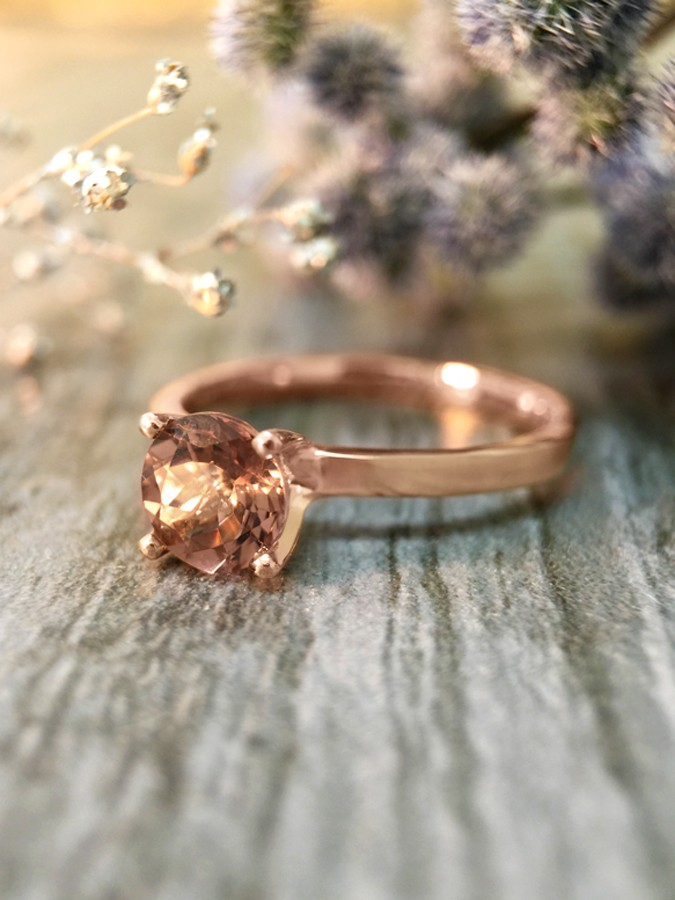 Salmon Pink Tourmaline Solitaire Engagement <Prong> Solid 14K Rose Gold (14KR) Colored Stone Wedding Ring