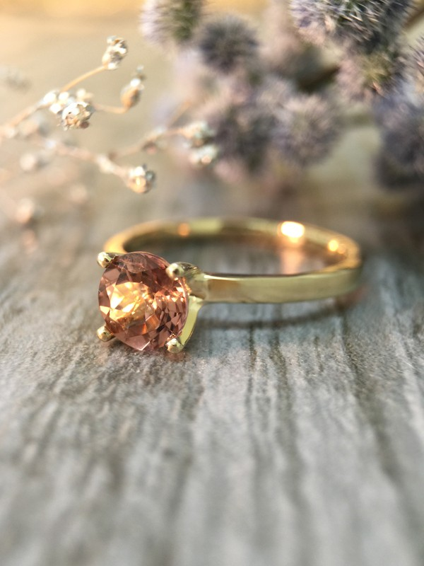 Salmon Pink Tourmaline Solitaire Engagement <Prong> Solid 14K Yellow Gold (14KY) Colored Stone Wedding Ring