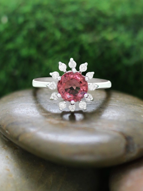 Pink Tourmaline and Diamond Halo Engagement <Prong> Solid 14K White Gold (14KW) Colored Stone Wedding Ring