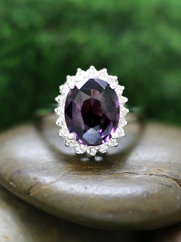 Purple Spinel and Diamond 14 Karat (14K) Solid White Gold Ring