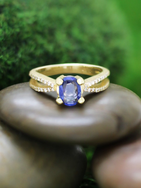 ONE-OF-A-KIND: Ceylon Blue Sapphire and Diamond Engagement <Prong> Solid 14K Yellow Gold (14KY) Wedding Ring
