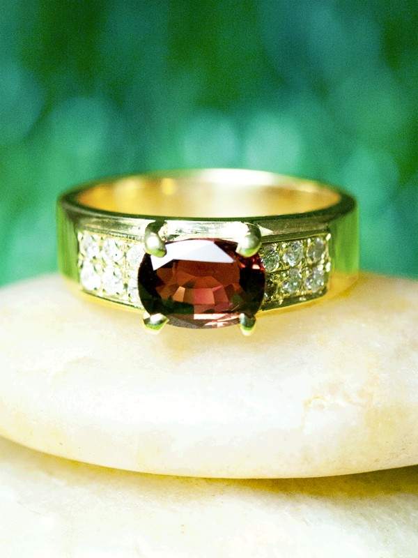 Red Tourmaline and Diamond Engagement <Prong> Solid 14K Yellow Gold (14KY) Colored Stone Estate Wedding Ring