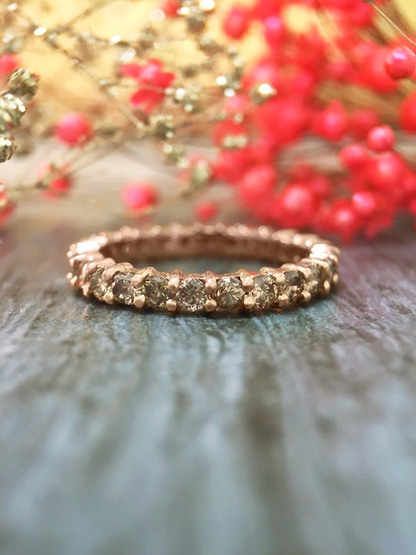 Champagne Diamond Eternity Wedding Band <Prong> Solid 14K Rose Gold (14KR) Women's Engagement Ring