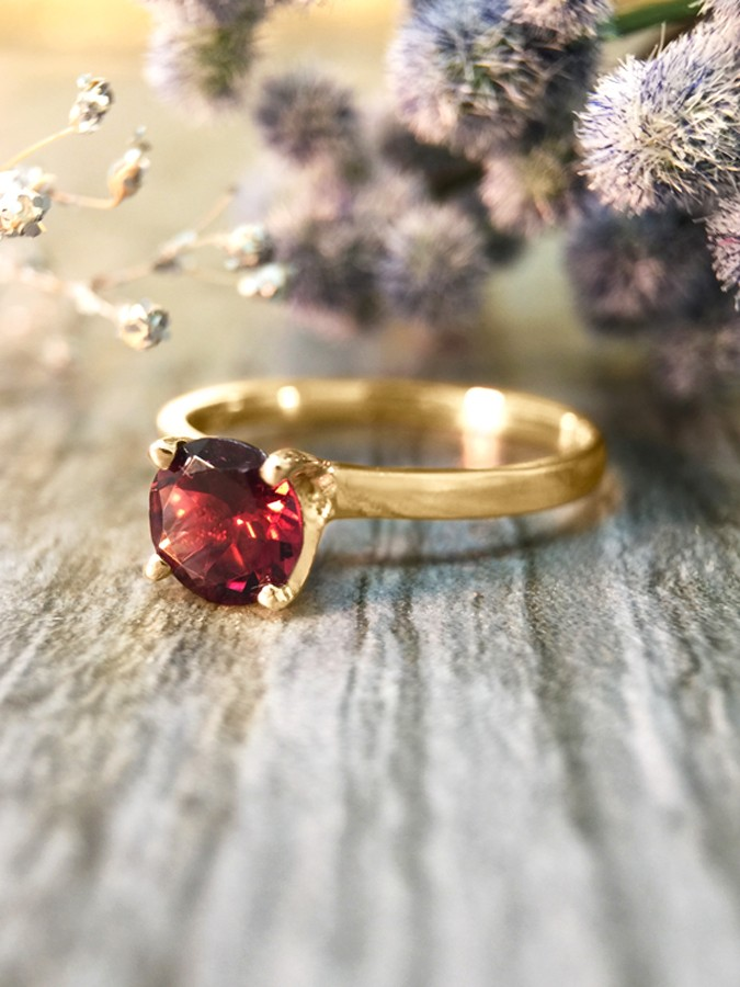 Raspberry Tourmaline Solitaire Engagement <Prong> Solid 14K Yellow Gold (14KY) Colored Stone Wedding Ring