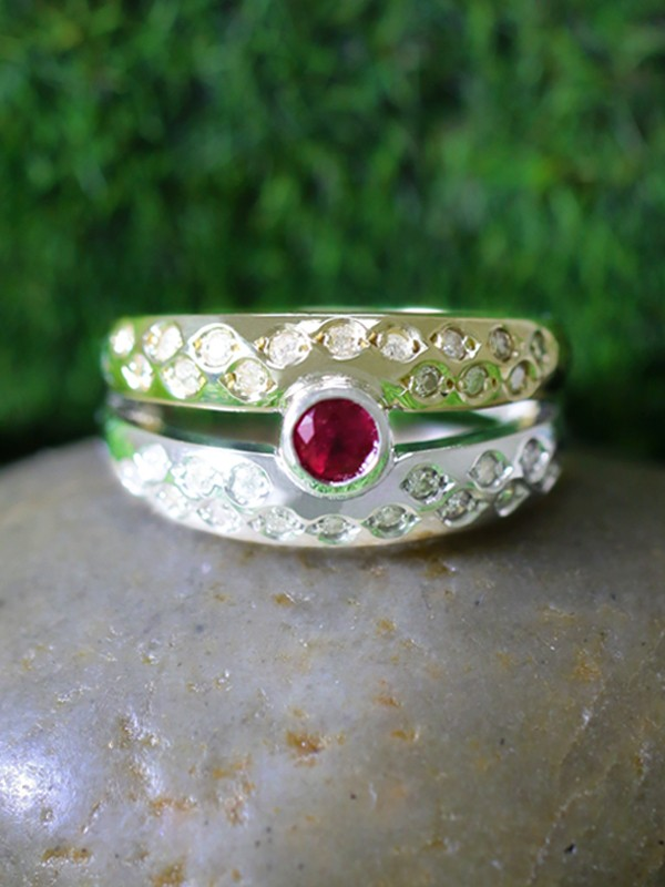 Ruby and Diamond Solid Two Tone 14K White and Yellow Gold (14KW, 14KY) Band Ring
