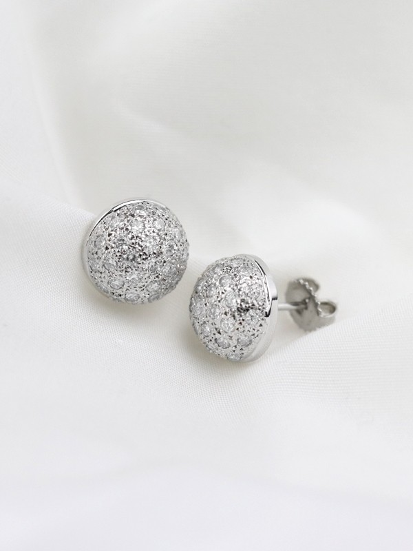 14.5x14.5MM Diamond Cluster Dome Stud <Pave> Solid 14K Gold (14KR) Earrings