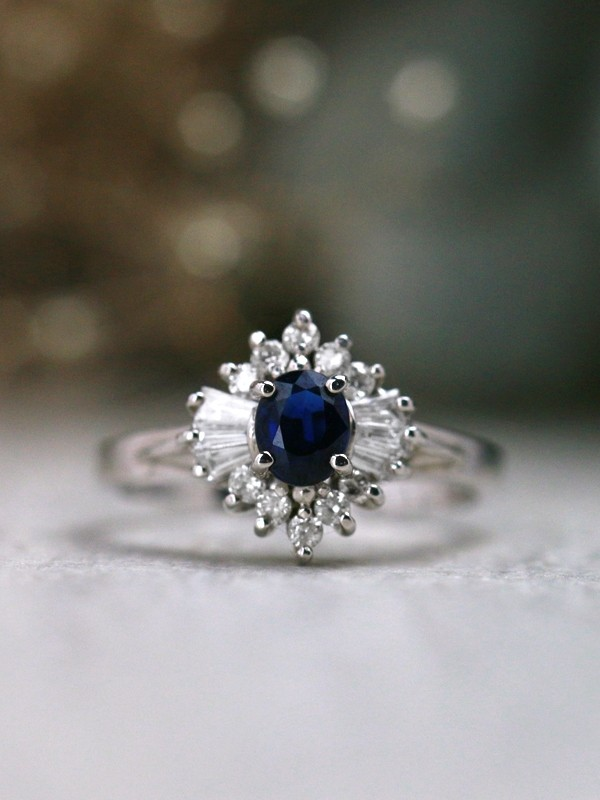 Blue Sapphire and Round & Baguette Diamond Engagement <Prong> Solid 14K White Gold (14KW) Colored Stone Ring